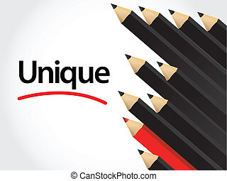 Black pencils and red pencil in arrange