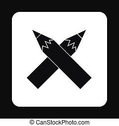 Black pencils icon, simple style