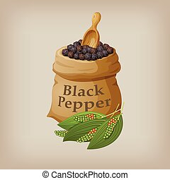 Black pepper corn in the bag. Vector illustration