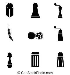 black pepper icon set