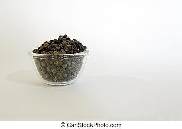 Black Pepper in a clear glass bowl