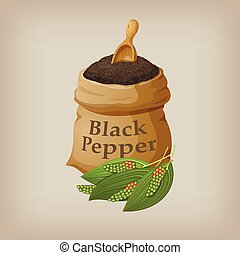 Black pepper in the bag. Vector illustration
