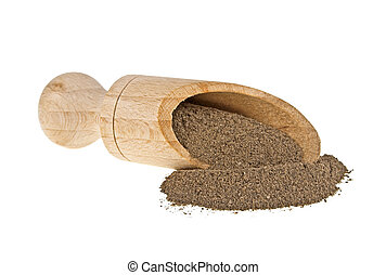 Black pepper in wooden shovel on a white background