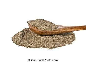 Black pepper in wooden spoon on a white background