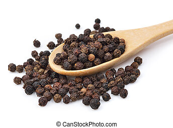 Black pepper in wooden spoon on white background.