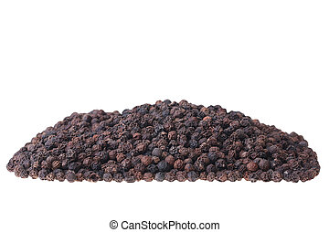 Black pepper not ground on a white background.
