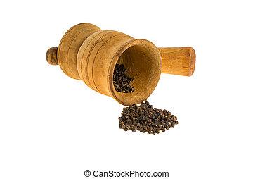 Black pepper on a white background