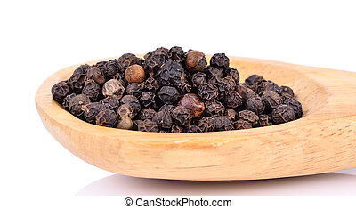 Black pepper on wooden spoon on white background