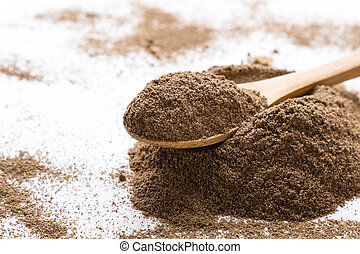 black pepper powder - black grinded pepper powder on white...