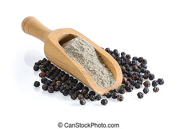 black pepper powder in wood scoop on white background