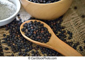 black pepper powder on table