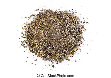 Black pepper powder on white background