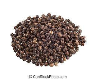 Black peppercorns - Heap of black peppercorns isolated on ...