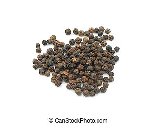 Black peppercorns in isolated white