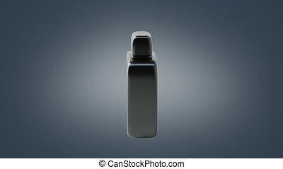 Black perfume bottle spinning around - Black perfume bottle...