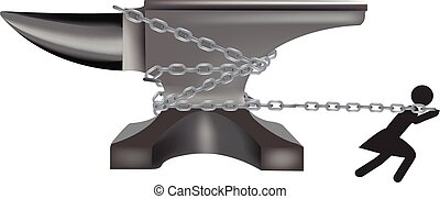 black person pulls with chains an anvil of steel