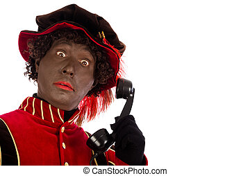 Black pete with telephone