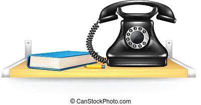 Black phone, address book, pencil on the shelf