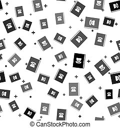 Black Phone book icon isolated seamless pattern on white background. Address book. Telephone directory. Vector Illustration