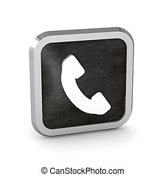 black phone button icon on a white background