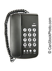 Black phone isolated on the white background