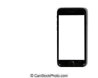 Black phone isolated on white background with copy space on the screen