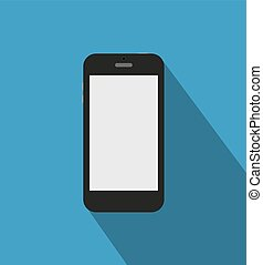 Black phone standalone - Black touch phone at blue backgound...