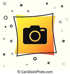 Black Photo camera icon isolated on white background. Foto camera icon. Yellow square button. Vector Illustration