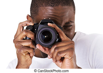Black photographer doing photos