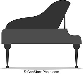 Black piano, illustration, vector on white background.
