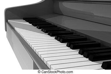 Black piano in white room