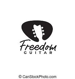 Black pick guitar negative space vector logo design template