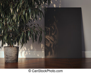 Black picture frame in a modern interior. 3d rendering