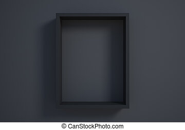 black picture frame on black wall