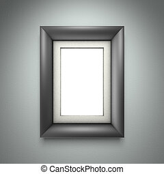 Black picture frame on gray wall