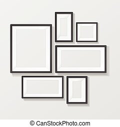 Black Picture Frame Template Set. Vector