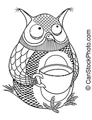 black picture of an owl, drinking coffee. vector image
