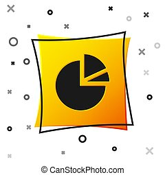 Black Pie chart infographic icon isolated on white background. Diagram chart sign. Yellow square button. Vector Illustration