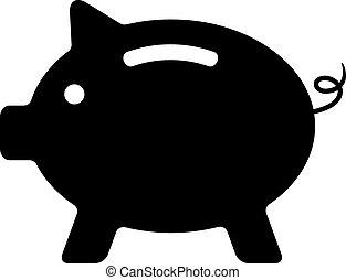 black piggy bank isolated on white background