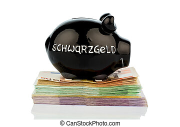 black piggy bank on money - black piggy bank on banknotes,...