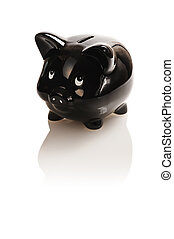 black , piggy bank