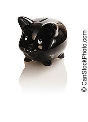 black , piggy bank