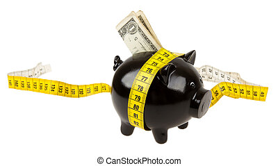 Black piggy bank with measuring tape