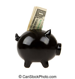 Black piggy bank with one dollar