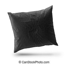 Black pillow isolated