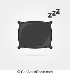 black pillow with sleep zzz icon