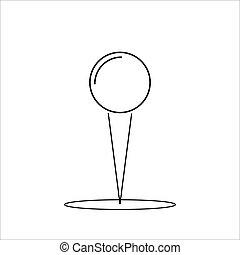 Black pin icon on a white background. Vector illustration