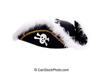 black Piracy hat with skull isolated on white