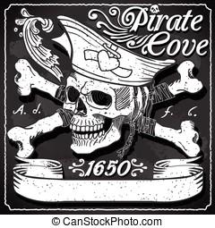 Black Pirate Cove Flag - Jolly Roger - Vintage Blackboard...