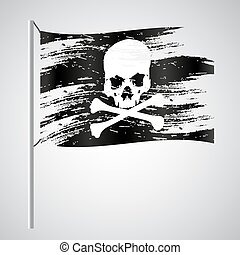 black pirate flag grunge style with skull eps10
